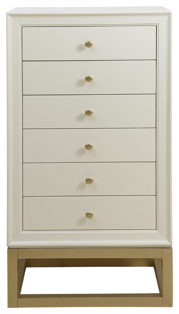 Attrayant Modern 6 Drawer Jewelry Armoire, White And Gold