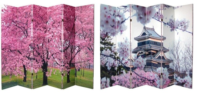 Tall Double Sided Cherry Blossoms Canvas Room Divider Panel - Cherry blossom room divider screen