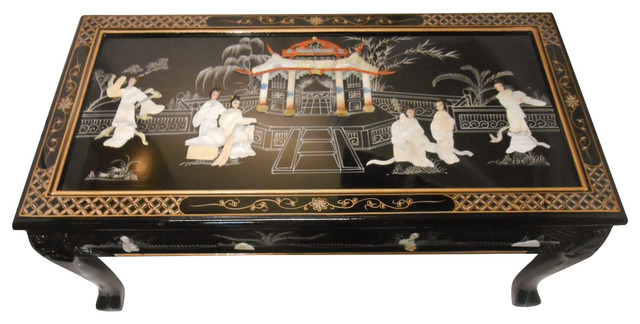 Ball And Claw Lacquer Mother Of Pearl Inlaid Dragon Coffee Table Asian  Coffee Tables