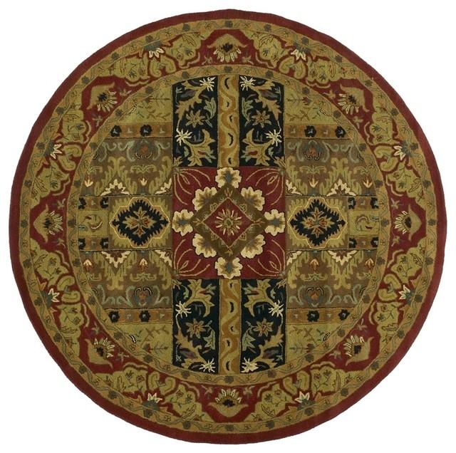 Traditional Area Rugs: Batroun Ba155 Olive, Burgundy, Black, Tan Area Rug, 6'x6