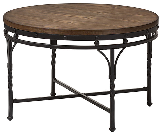 Austin Vintage Industrial Antique Round Coffee Table   Mediterranean   Coffee  Tables   By HedgeApple