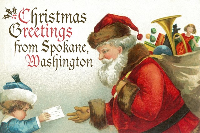 Christmas greetings from spokane santa getting letter quot print 24 quot x36