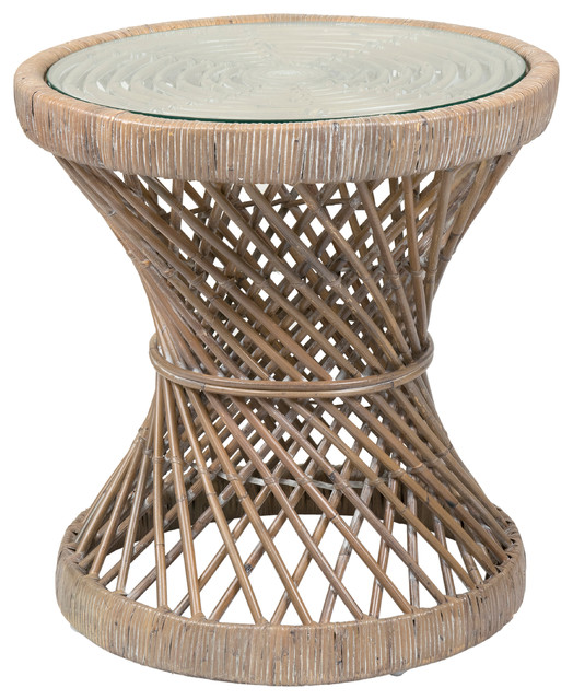 East At Mainu0027s Shively Brown Round Rattan Accent Table Tropical Side Tables  And