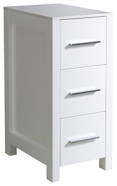 """Fresca Torino 12"""" Espresso Bathroom Linen Side Cabinet, White."""