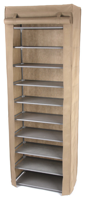 Gold Sparrow 10 Tier Shoe Rack, Beige.