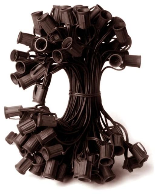 100&x27; Commercial C9 Christmas Light Socket Set, 12 Spacing 18-Gauge Wire, Brown.