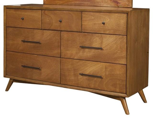 7-Drawer Mid Century Modern Dresser, Acorn Finish