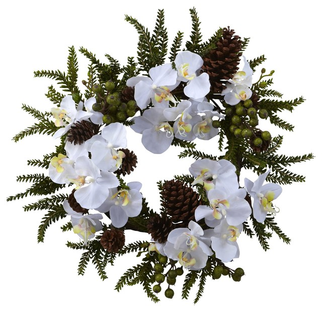 Silk Flowers -22 Inch Phalaenopsis And Pine Wreath Artificial Plant.