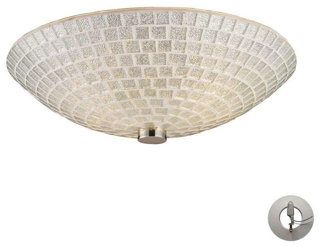 Fusion 2-Light Semi Flush, Satin Nickel, Includes Recessed-Lighting Kit.