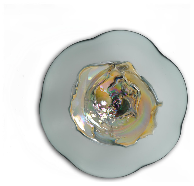 Wall Decor Glass Plates : Hazy sunshine petite art glass wall plate contemporary