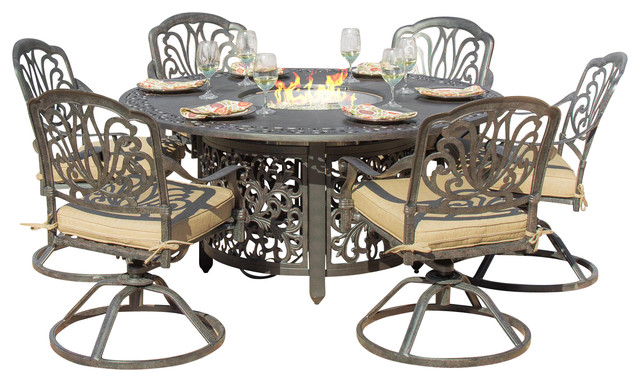 rosedown cast aluminum 7 piece dining set with fire pit table traditional outdoor dining. Black Bedroom Furniture Sets. Home Design Ideas