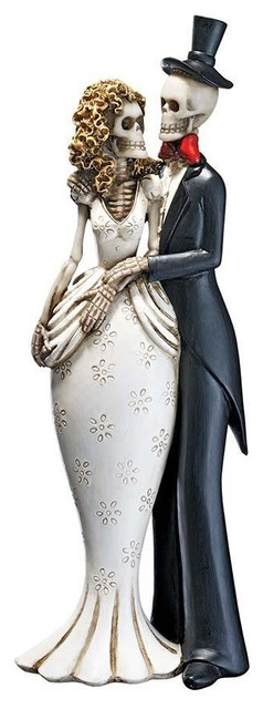 Romantic Skeleton Bride and Groom Statue Set of Two Traditional