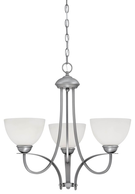 Brushed Pewter 22.5-Inch Three-Light Chandelier with Etched White Glass