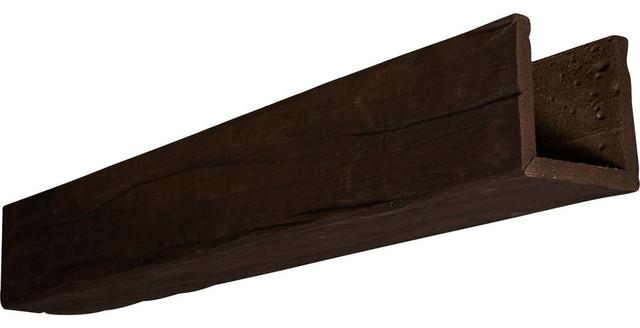 3-Sided Riverwood Faux Wood Ceiling Beam, Espresso, 12&x27; Length.