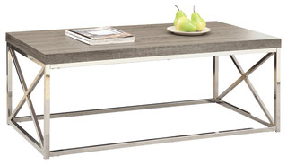 Monarch Specialties Reclaimed-Look Cocktail Table, Dark Taupe