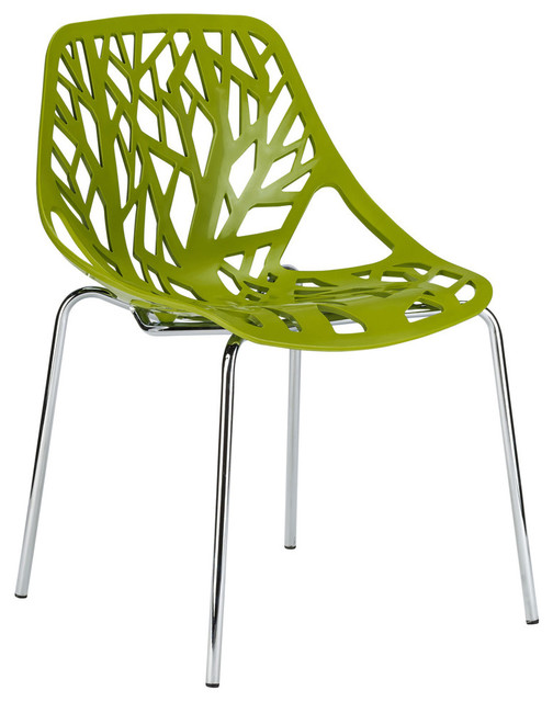 Birds Nest Dining Side Chair, Green, Set Of 2.