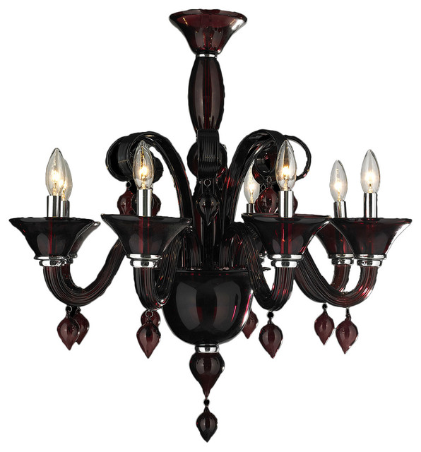 Murano venetian style 8 light blown glass chandelier 27 murano venetian style 8 light blown glass in cranberry red finish chandelier aloadofball Image collections