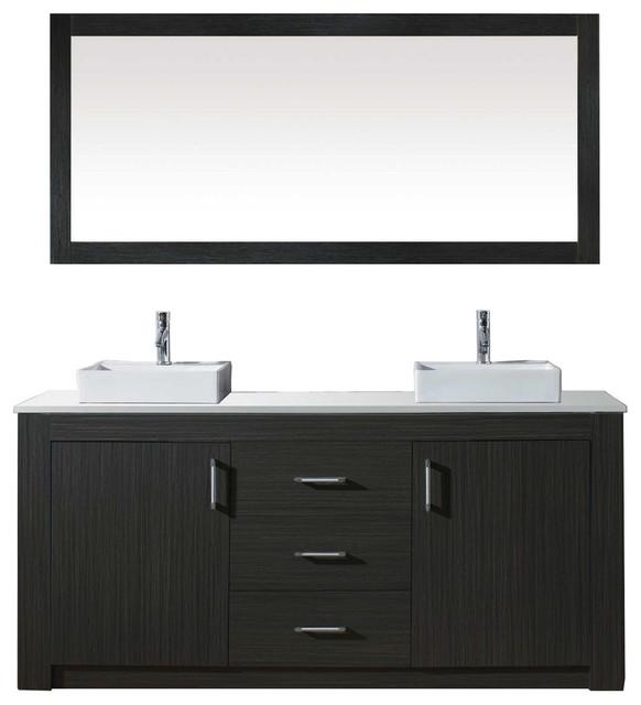 "Virtu Tavian 60"" Double Sink Gray Top Vanity, Gray W/ Pc Faucet & Mirror."