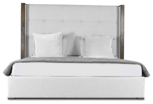 Claire Button Tufted Mid Height King Size Bed, White.