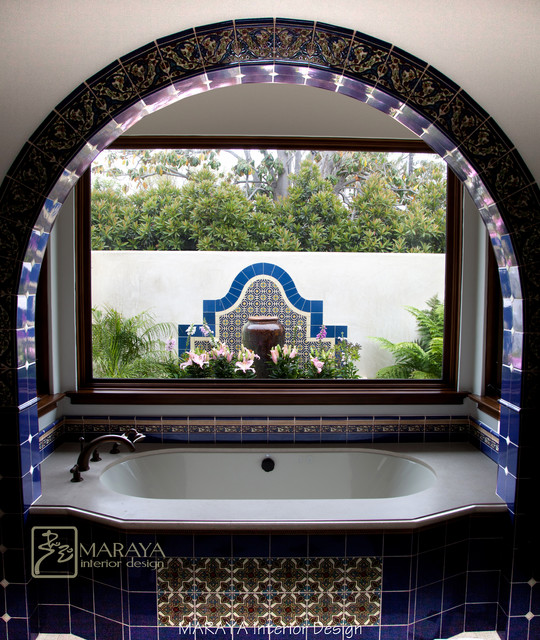Malibu tile master bath with fountain mediterranean for Spanish style fountains for sale