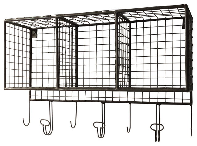 Wire Wall Storage With Hooks   Medium