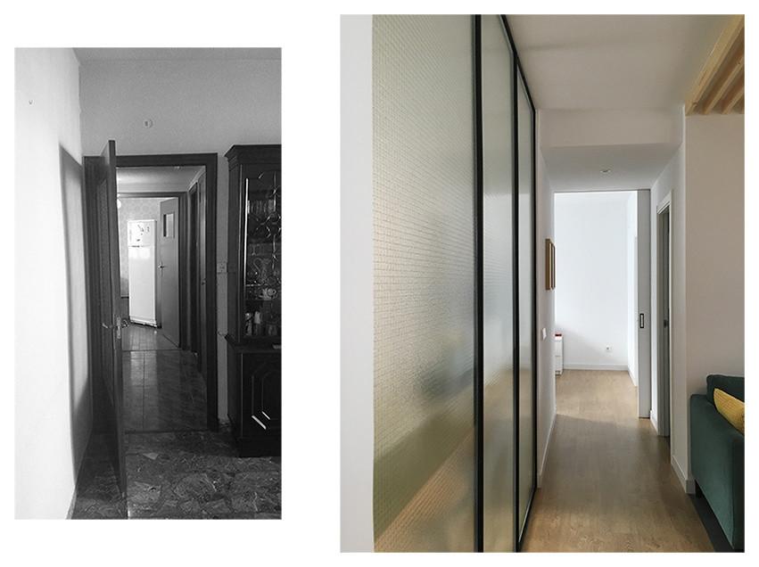 Vista hacia el paso a la habitación principal, antes y después