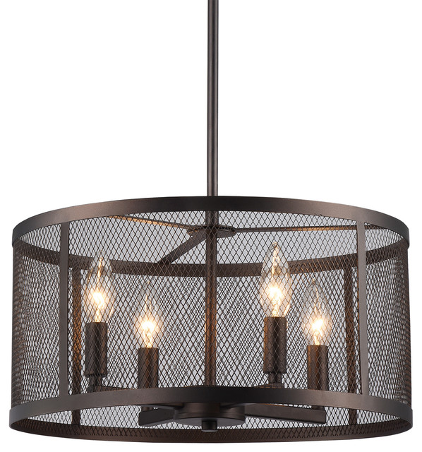 Audra 4-Light Pendant With Round Metal Mesh Shade, Oil