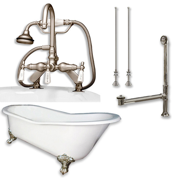 """Cast Iron Slipper Tub 67"""", Telephone Faucet Brushed Nickel Package."""