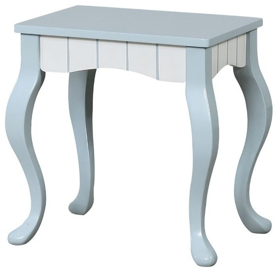 Tremendous Solid Wood 2 Tone Vanity Stool With Cabriole Feet Blue And White Caraccident5 Cool Chair Designs And Ideas Caraccident5Info