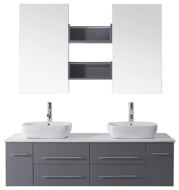 Augustine Single Vanity Cabinet Set White Stone Polished Chrome
