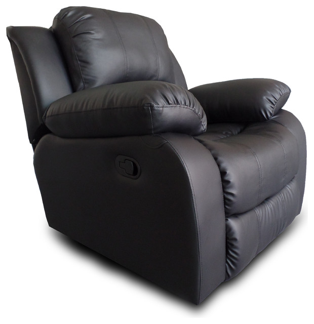Classic And Traditional Brown Bonded Leather Recliner Chair, Black  Contemporary Recliner Chairs
