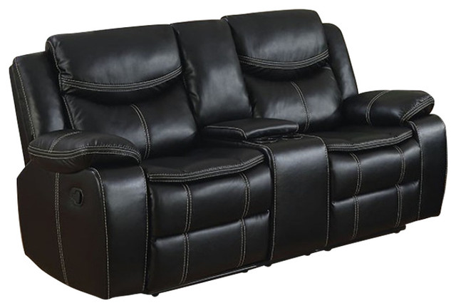 Gatria Transitional Love Seat With 2 Recliners, Black.