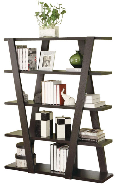 Modern Cappuccino Storage Bookcase Bookshelf With Inverted Support Open Shelves