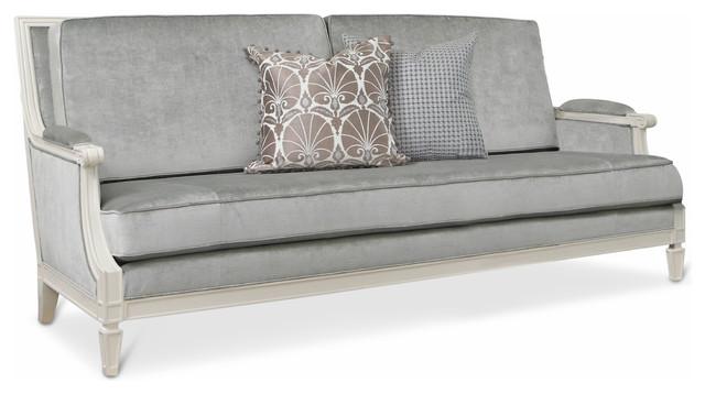 Maureen Hollywood Regency Grey Velvet Ivory Lacquer Wood Sofa Transitional  Sofas