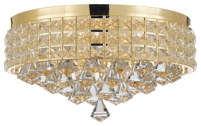 Flush Mount French Empire Crystal Chandelier Crystal, Gold.