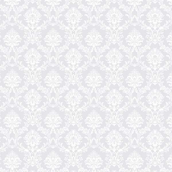 Small Print Damask Wallpaper Gray And White Bolt