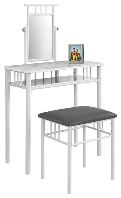 contemporary bedroom vanity set vanity set 2 set white marble white metal 14955
