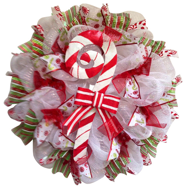 Candy Cane Christmas Handmade Deco Mesh Wreath.