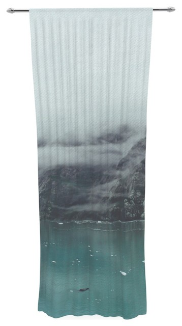 Kess Inhouse Ann Barnes Into The Mist Teal Decorative Sheer Curtain View In Your Room Houzz