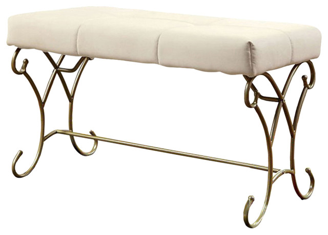 Enchant Bench, White And Champagne. -1