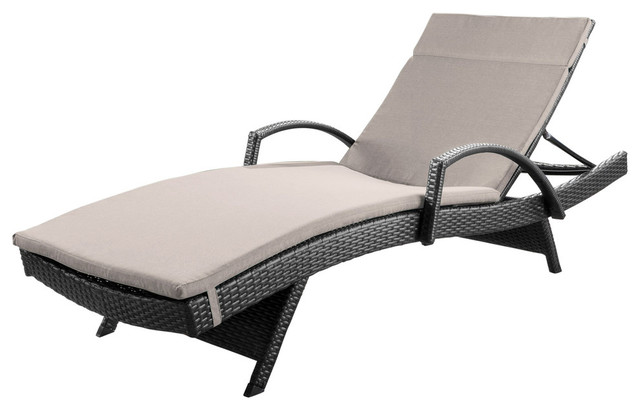 Incredible Gdf Studio Solaris Outdoor Gray Wicker Armed Chaise Lounge With Cushion Pabps2019 Chair Design Images Pabps2019Com