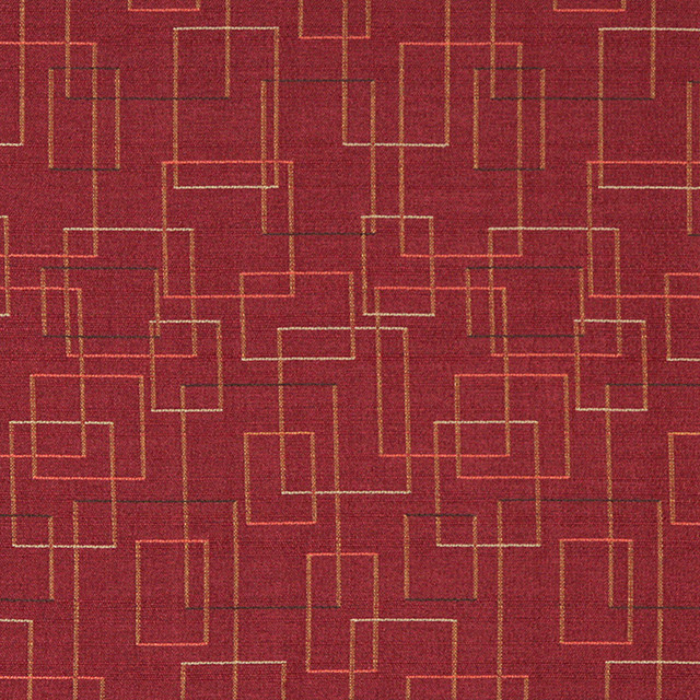Burgundy Salmon Green Geometric Squares Durable Upholstery Fabric By The Yard
