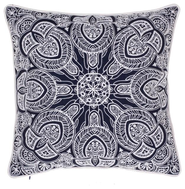 Decorative Pillows Indigo : Indigo Embroidered Pillow - Contemporary - Decorative Pillows - by 14 Karat Home, Inc