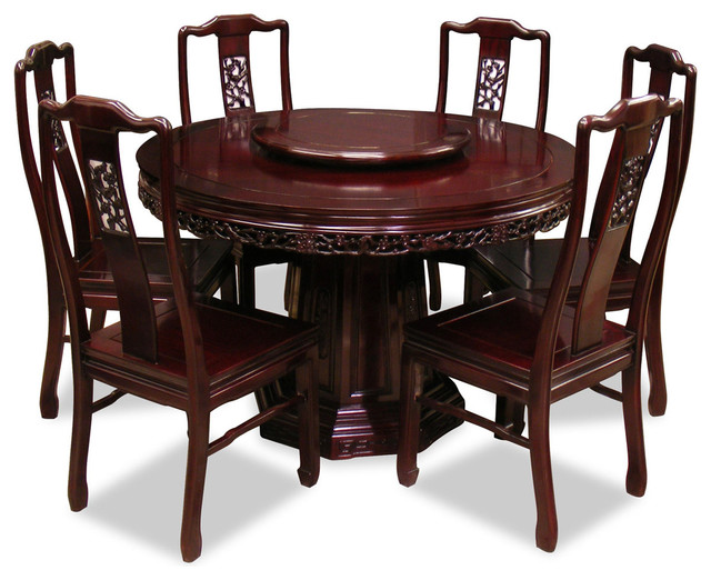 Rosewood Round Dining Table With 6 Chairs, Flower and Bird Design