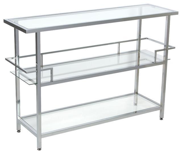 Portico Bar Chrome Clear Glass Contemporary Bar Carts