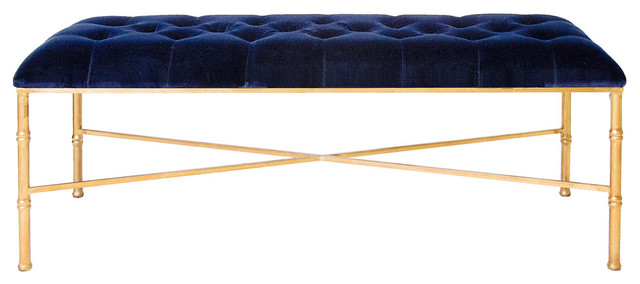 Delphine Bench, Gold And Navy.