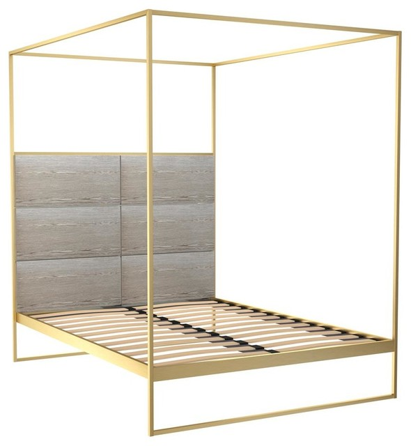 Federico Double Canopy Bed, Weathered Oak, Brass Base