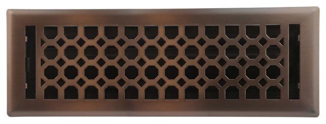 """Light Oil-Rubbed Bronze Charlotte Floor Register, 4""""x14""""."""