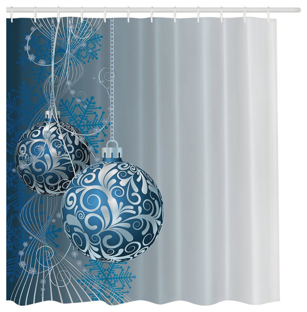 Blue Silver Holiday Christmas Ornaments Fabric Shower Curtain Digital Bathroom Traditional