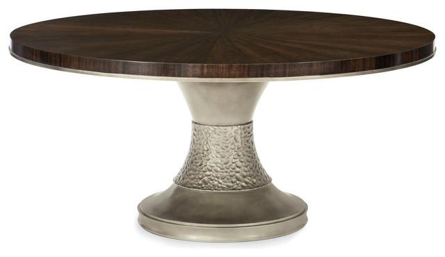 Modern Streamline Round Smoked Bronze Base Pedestal Dining Table